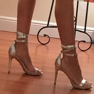 Bebe ~ size 8 ~ silver ~ high heel shoes